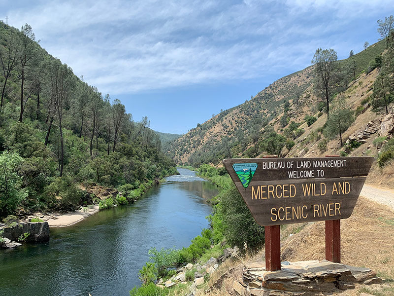 Merced Wild and Scenic River and sign