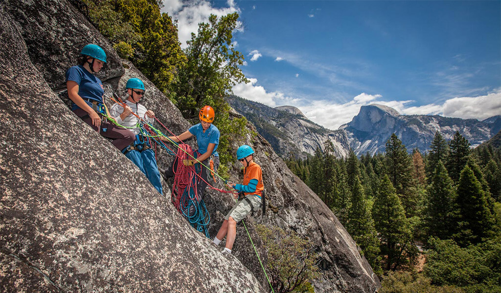 Family rock climbing with the Yosemite Mountaineering School