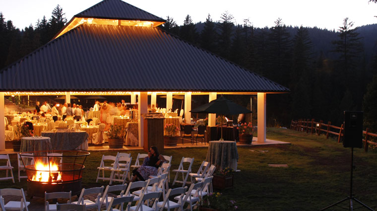 Outdoor event in the pavillion with a fire pit