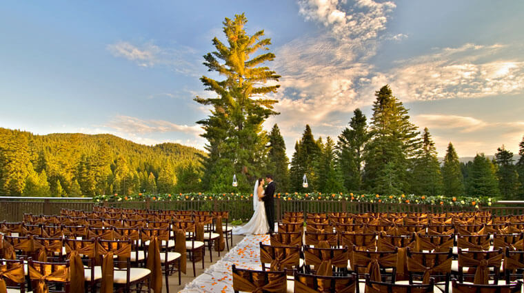 Tenaya Lodge at Yosemite wedding ceremony on the terrace