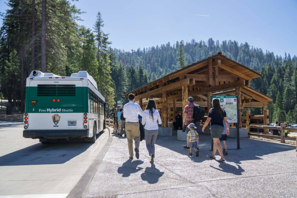 Mariposa Grove, Depot, Shuttle Bus, Yosemite, Big Trees