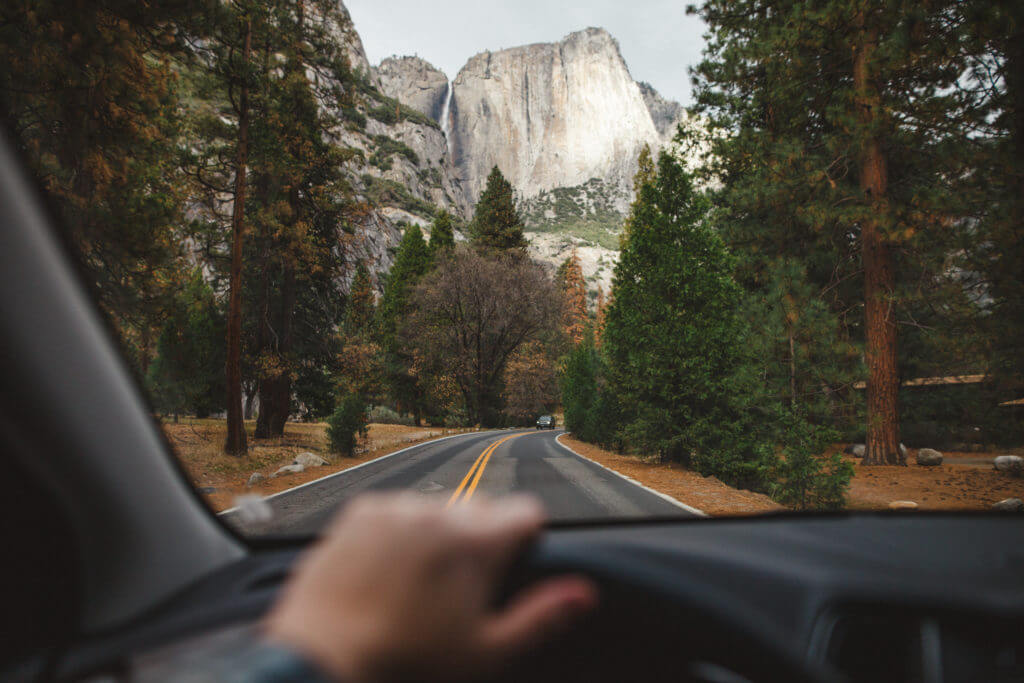 Yosemite Falls, Yosemite Valley, Inside Car, Driving