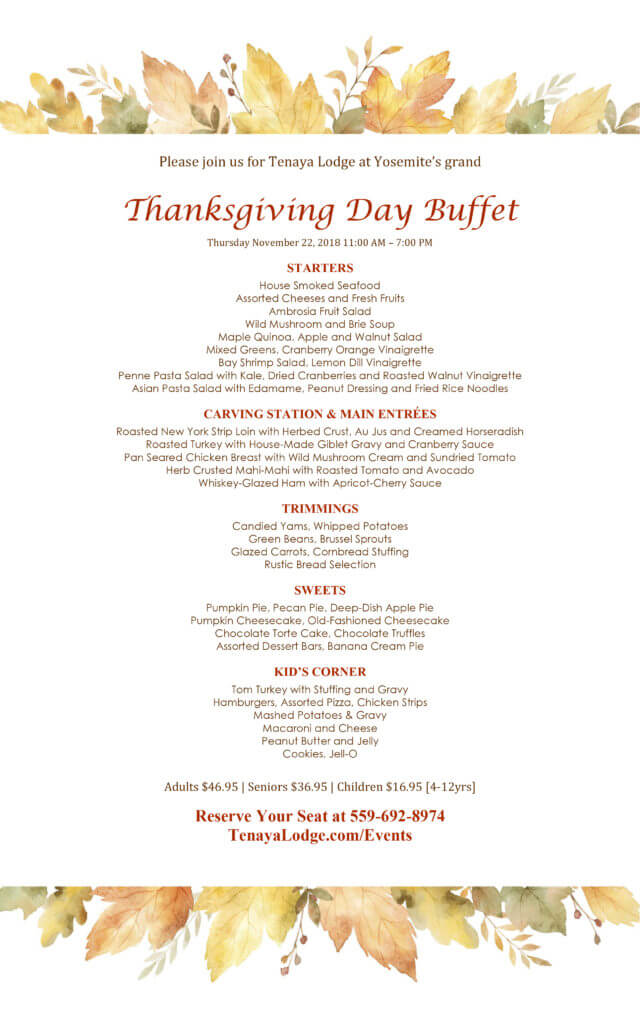 Tenaya Lodge, Thanksgiving Menu 2018
