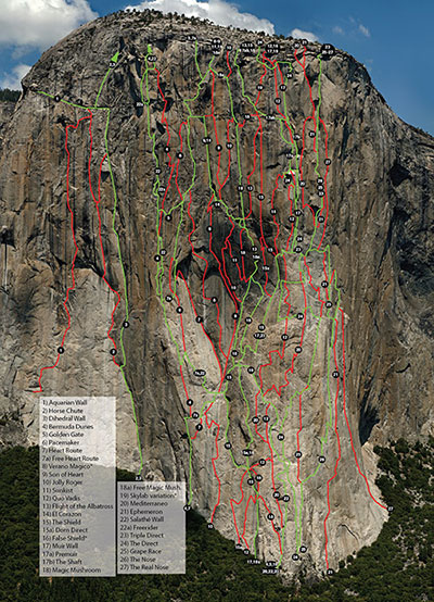 Climbing routes on the right side of El Capitan's southwest face.