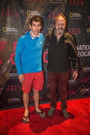 Climber Alex Honnold and Facelift founder, Ken Yager at the screening of FreeSolo in 2018.
