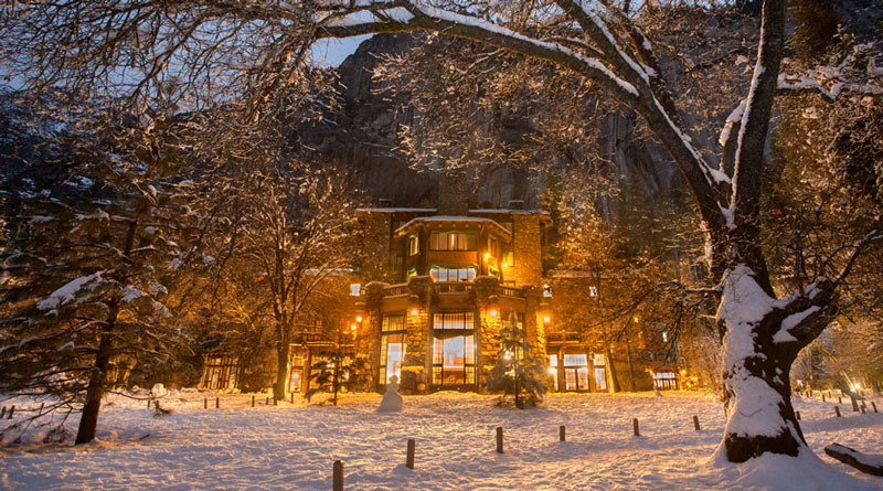 The Ahwahnee hotel in winter