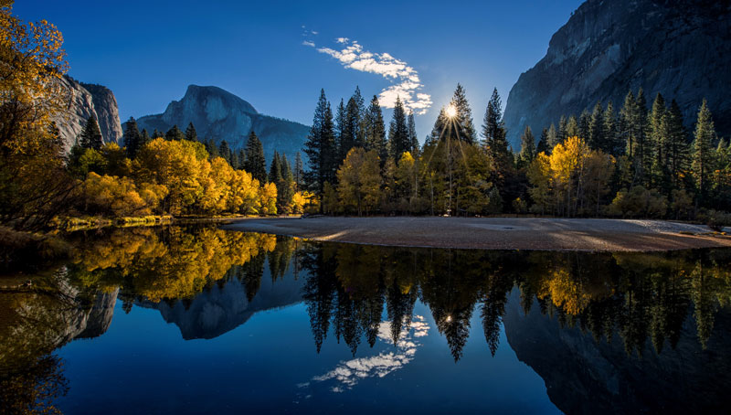 Autumn foliage and Half Dome reflected in the Merced River.