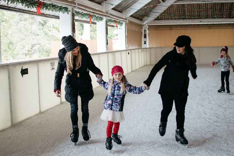 Group of ice skaters at Tenaya Lodge's covered ice rink