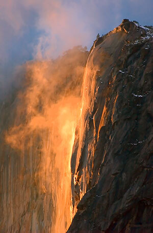 Horsetail Fall glowing in the setting sun.