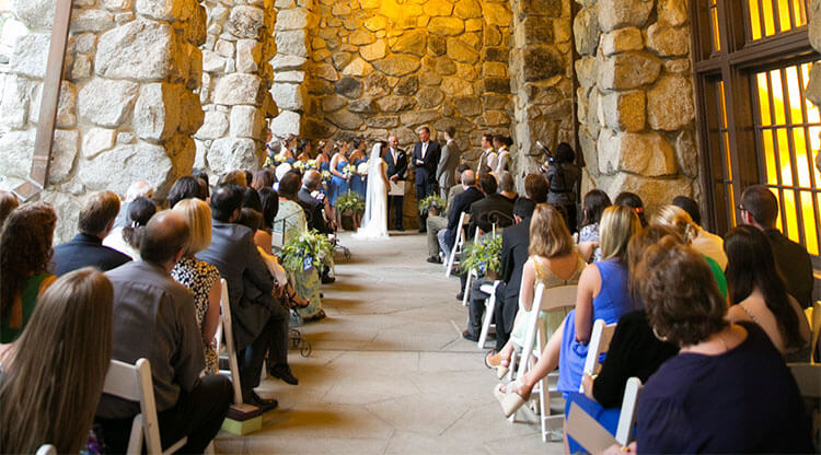 Yosemite wedding ceremony on the east terrace of The Ahwahnee