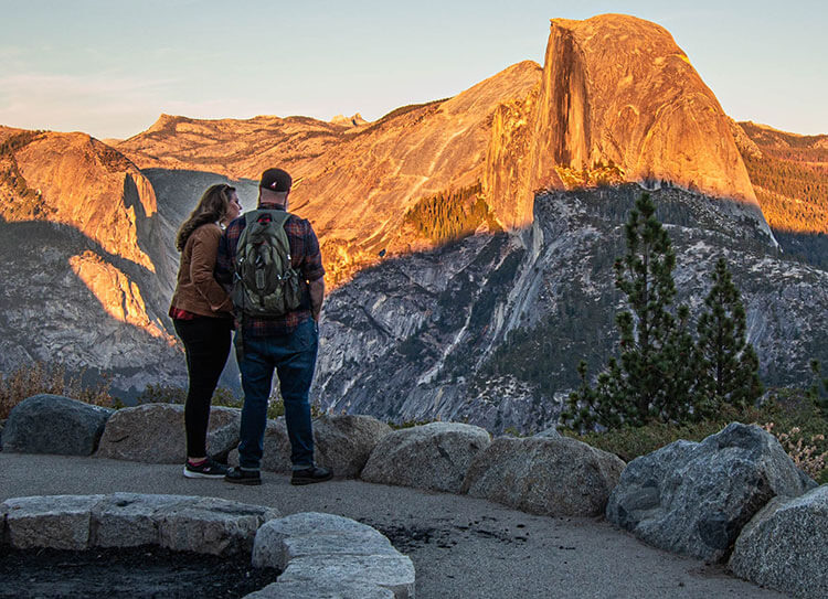 Couple at Glacier Point for sunset