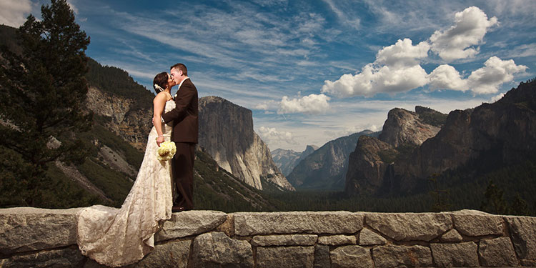 Tunnel View is the perfect setting for an epic national park wedding photo.