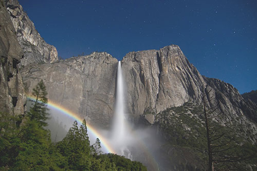 A moonbow or lunar spraybow in Upper Yosemite Fall
