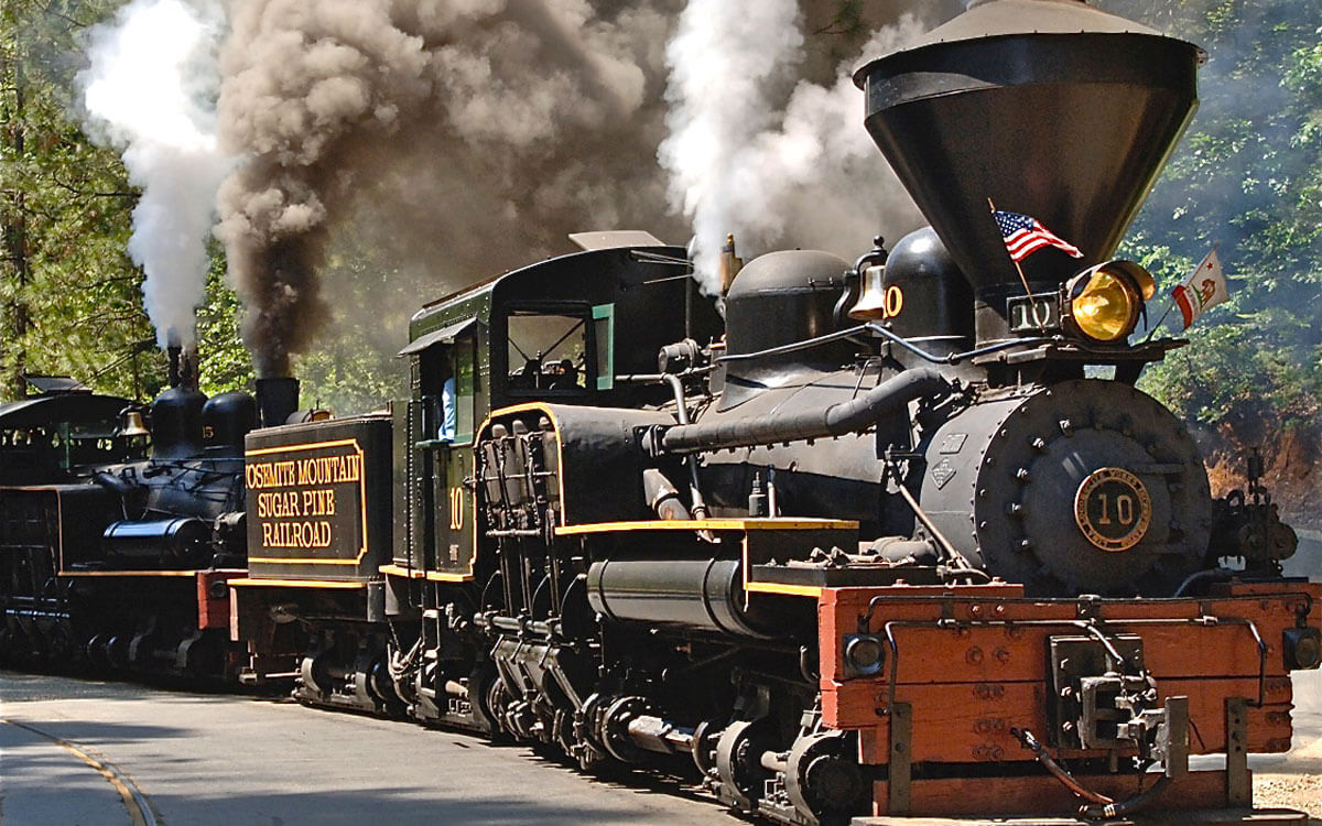 vintage Shay steam engine at the Yosemite Mountain Sugar Pine Railroad