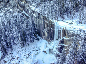 Vernal falls in winter from the winter route
