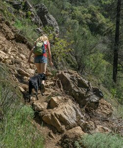 Woman and her dog on the Hite Cove trail.