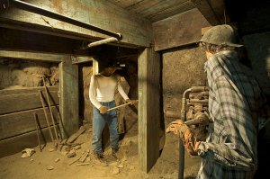 display of miners in the mid-1800s