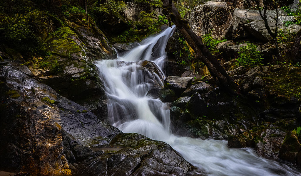 upper waterfall on the lewis creek trail