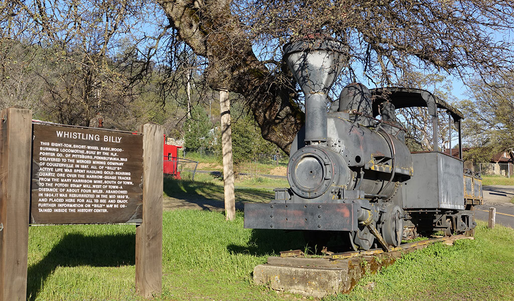 Whistling Billly locomotive in Coulterville