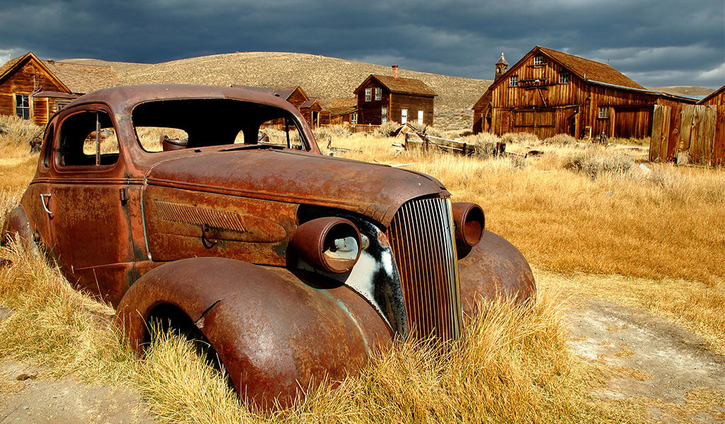 truck and ghost town at bodie historic state park