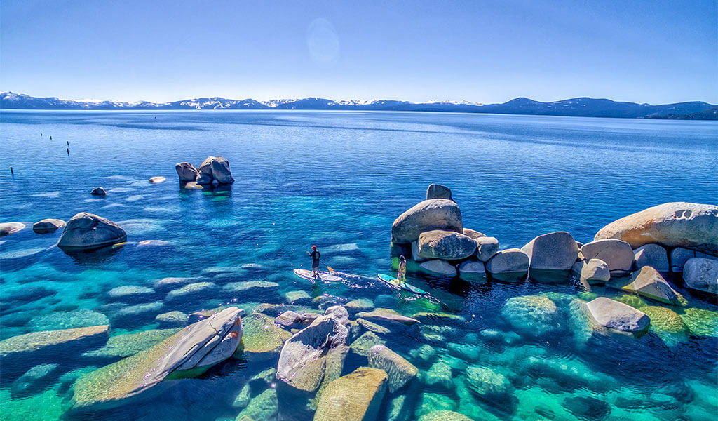 Two Stand-Up Paddleboarders on Lake Tahoe