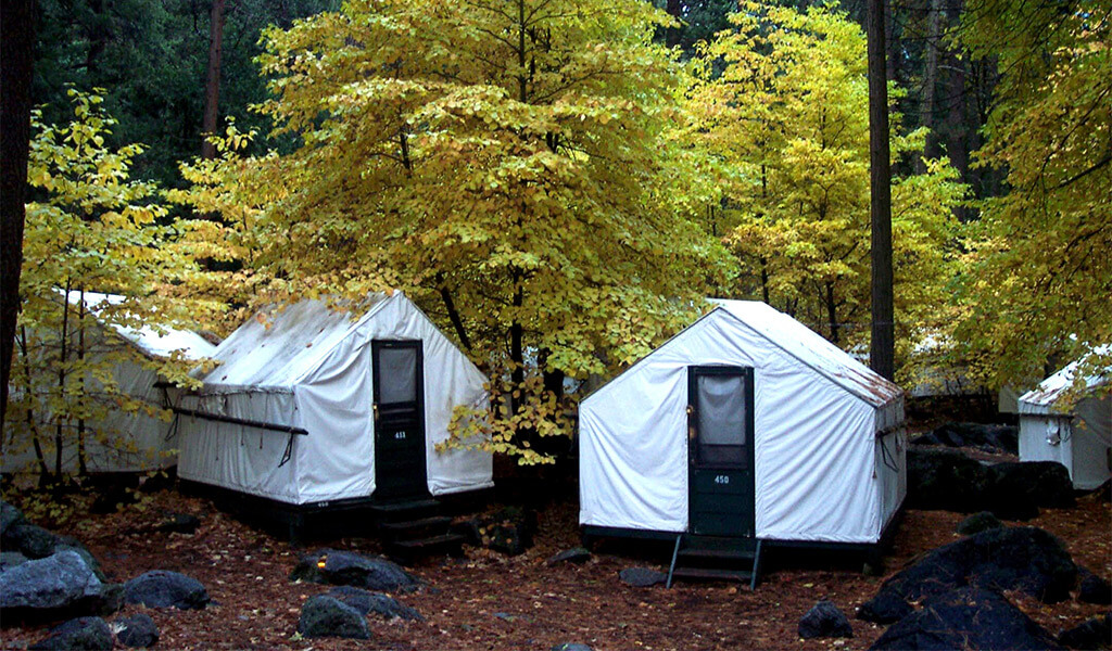 Curry Village tent cabins in fall